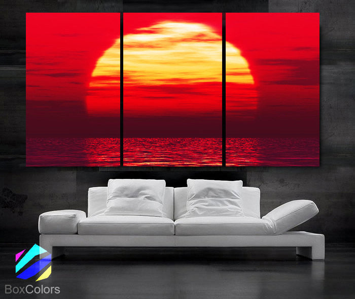 "LARGE 30""x 60"" 3 Panels Art Canvas Print Beautiful Huge Sunset Beach ocean sun Red Yellow  Wall Home (Included framed 1.5"" depth) - BoxColors"