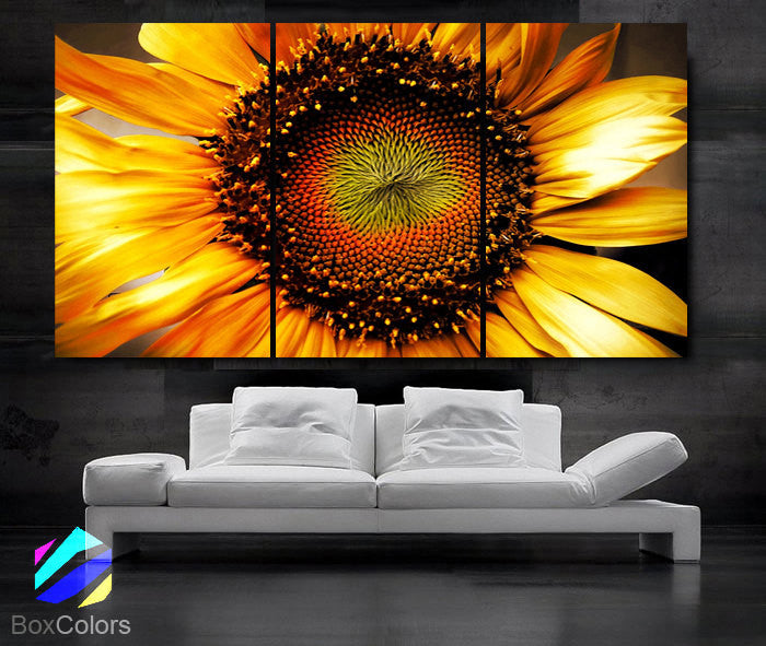 "LARGE 30""x 60"" 3 Panels Art Canvas Print beautiful Sunflower Floral Flower Yellow Wall Home decoration (Included framed 1.5"" depth) - BoxColors"