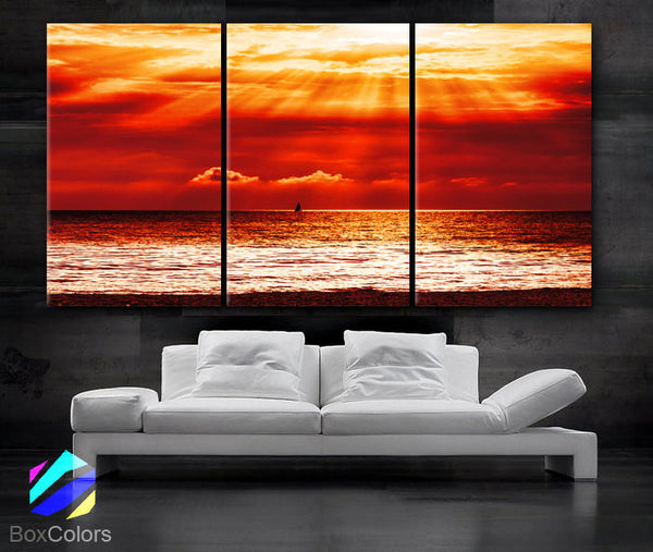 "LARGE 30""x 60"" 3 Panels Art Canvas Print beautiful Beach Sunset red Yellow Ocean Wall home office interior decor(Included framed 1.5"" depth) - BoxColors"