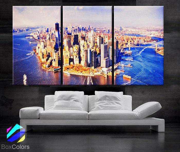 "LARGE 30""x 60"" 3 panels Art Canvas Print Harbor New York City downtown Manhattan NY Wall Home (Included framed 1.5"" depth) - BoxColors"