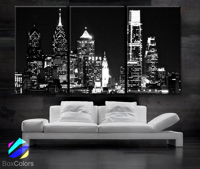 "LARGE 30""x 60"" 3 Panels Art Canvas Print Beautiful Philadelphia skyline light buildings Wall Home (Included framed 1.5"" depth) - BoxColors"