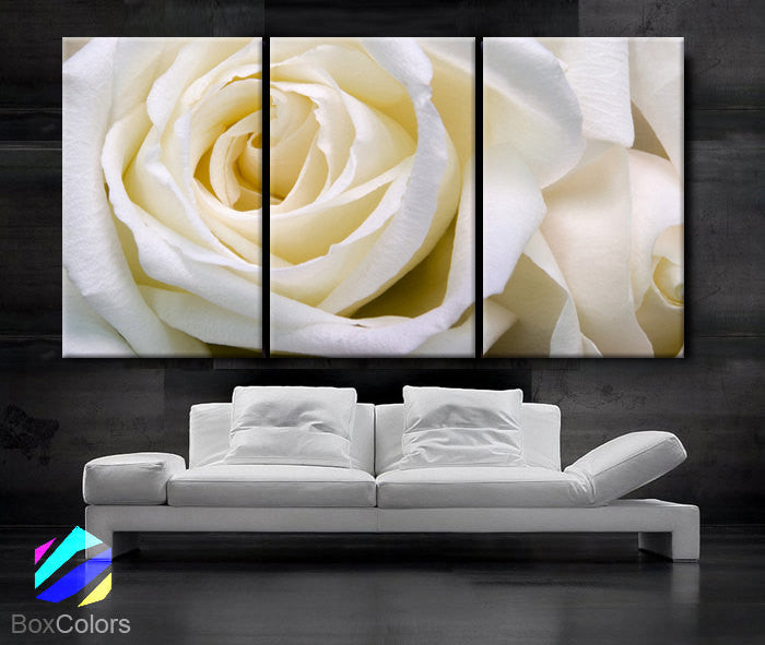 "Huge 3 Panels framed 1.5"" depth Art Canvas Print White Rose love Flower Floral Nature Wall home office decor interior"