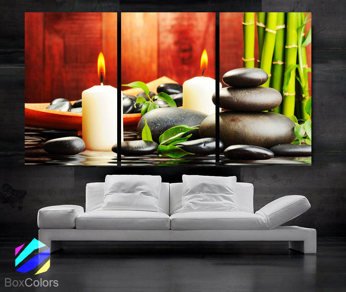 "LARGE 30""x 60"" 3 Panels Art Canvas Print Beautiful Stone candle Bamboo Water  Relax Wall Home (Included framed 1.5"" depth)"