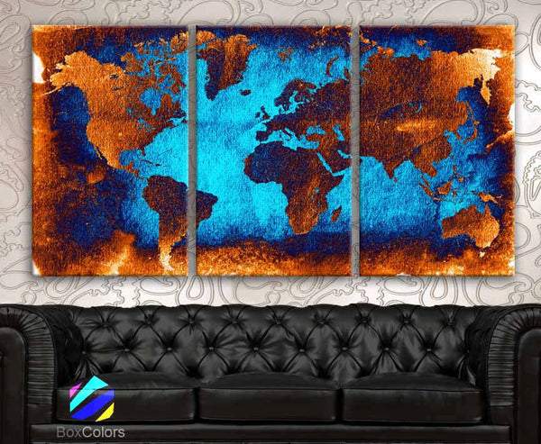"LARGE 30""x 60"" 3 Panels Art Canvas Print beautiful World Map Abstract Contrast Wall Home Office decor interior (Included framed 1.5"" depth) - BoxColors"