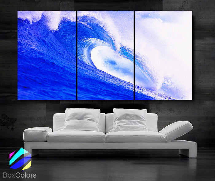 "LARGE 30""x 60"" 3 Panels Art Canvas Print beautiful Sea Wave Blue White Beach Ocean Wall Home (Included framed 1.5"" depth) - BoxColors"