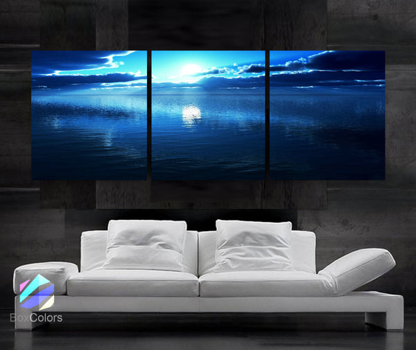 "LARGE 20""x 60"" 3 panels Art Canvas Print beautiful Sunset Ocean Blue Wall Home (Included framed 1.5"" depth) - BoxColors"