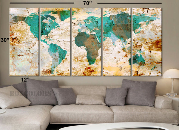 "XLARGE 30""x 70"" 5 Panels Art Canvas Print World Map Original Watercolor texture Old Wall design Home Office decor green ( framed 1.5"" depth) - BoxColors"