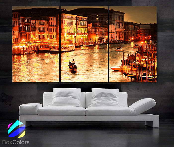 "LARGE 30""x 60"" 3 Panels Art Canvas Print beautiful Romantic Venice night Wall Home (Included framed 1.5"" depth) - BoxColors"