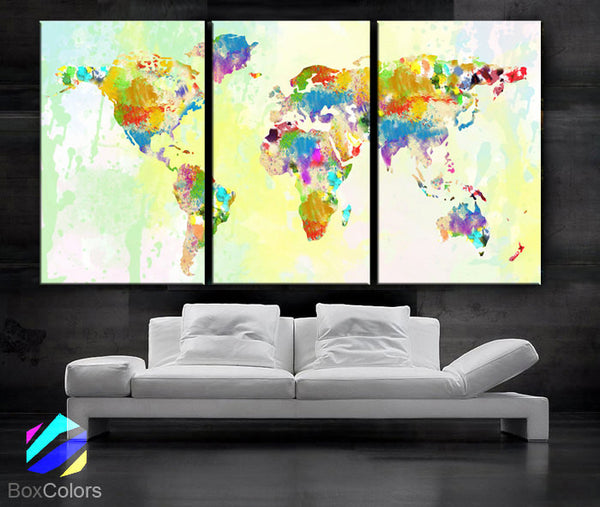 "LARGE 30""x 60"" 3 Panels Art Canvas Print Original Watercolor World Map pastels Texture Wall Home decor interior (Included framed 1.5"" depth) - BoxColors"