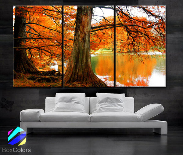 "LARGE 30""x 60"" 3 Panels Art Canvas Print Beautiful Tree branches River Wall Home office interior decor (Included framed 1.5"" depth) - BoxColors"