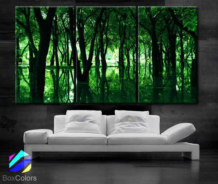 "LARGE 30""x 60"" 3 Panels Art Canvas Print Beautiful Trees lake green nature Wall Home office decor interior (Included framed 1.5"" depth) - BoxColors"
