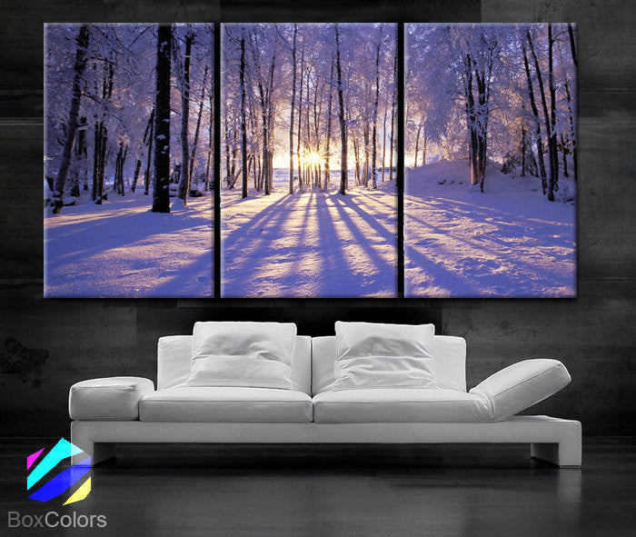 "LARGE 30""x60"" 3Panels Art Canvas Print Sunset Winter Snow Trees decor (framed 1.5"" depth)"