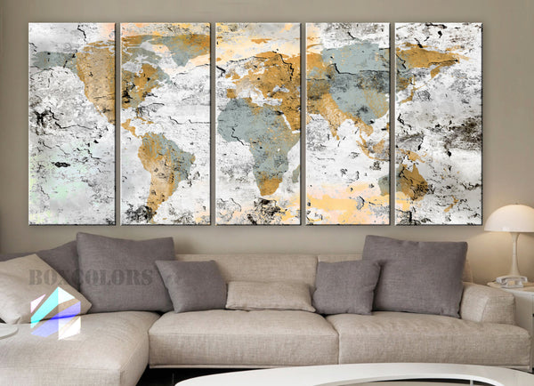 "XLARGE 30""x 70"" 5 Panels Art Canvas Print World Map Original design Watercolor texture Old Wall Home decor interior (framed 1.5"" depth) - BoxColors"