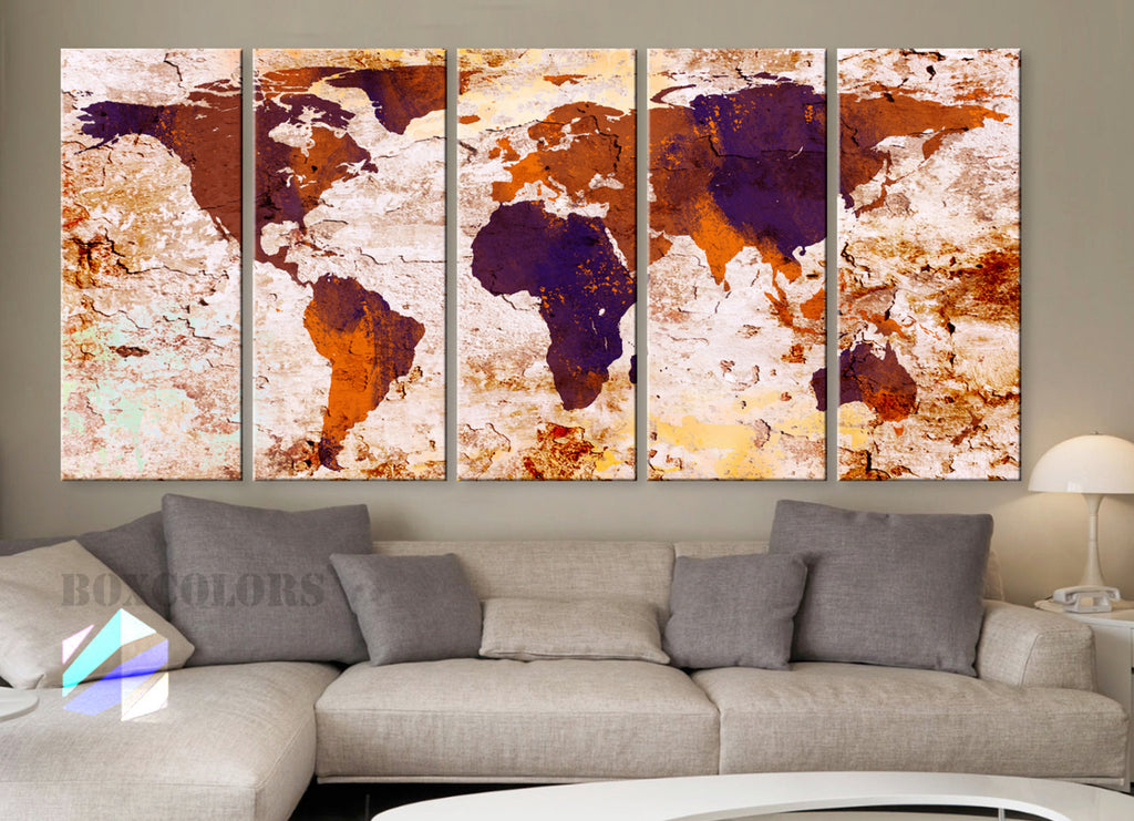 "XLARGE 30""x 70"" 5 Panels Art Canvas Print World Map Original Watercolor texture Old Wall Orange Brown Purple Home decor (framed 1.5"" depth) - BoxColors"