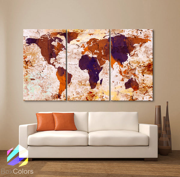 "LARGE 30""x 60"" 3 Panels Art Canvas Print World Map Original Watercolor Abstract Old Wall Orange brown interior decor Home(framed 1.5"" depth) - BoxColors"
