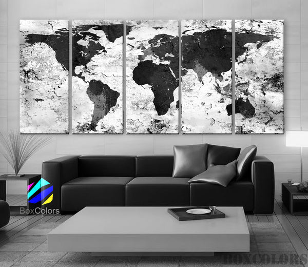 "XLARGE 30""x 70"" 5 Panels Art Canvas Print World Map Original Watercolor texture Old Black & White Wall Home Office decor (framed 1.5"" depth) - BoxColors"