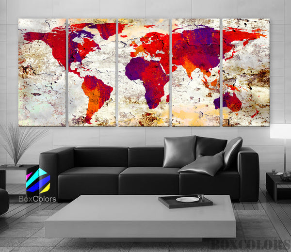 "XLARGE 30""x 70"" 5 Panels Art Canvas Print World Map Original Watercolor texture Old red Purple Wall Home Office decor (framed 1.5"" depth) - BoxColors"