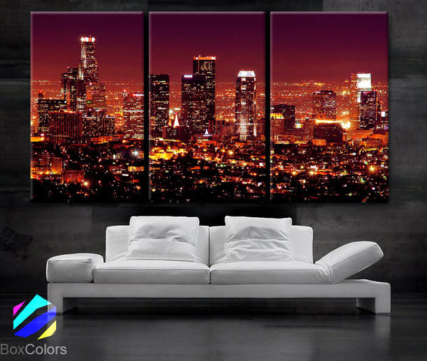 "LARGE 30""x 60"" 3 Panels Art Canvas Print beautiful Los Angeles CA skyline Black & White Wall Home (Included framed 1.5"" depth) - BoxColors"