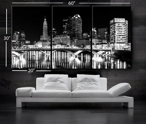 "LARGE 30""x 60"" 3 Panels Art Canvas Print Columbus Ohio Skyline night Downtown Black & White Wall Home decor interior (framed 1.5"" depth) - BoxColors"