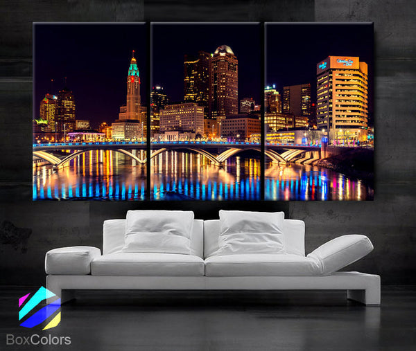 "LARGE 30""x 60"" 3 Panels Art Canvas Print Columbus Ohio Skyline night light Downtown bridge Wall Home decor interior (framed 1.5"" depth) - BoxColors"