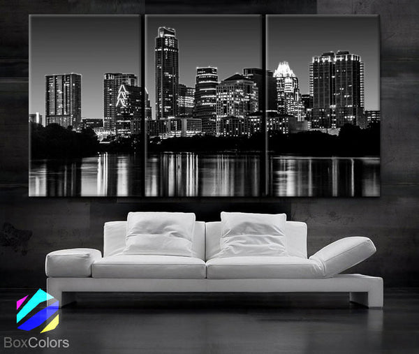 "LARGE 30""x 60"" 3 Panels Art Canvas Print Beautiful Austin TX skyline light buildings Wall Home (Included framed 1.5"" depth) - BoxColors"