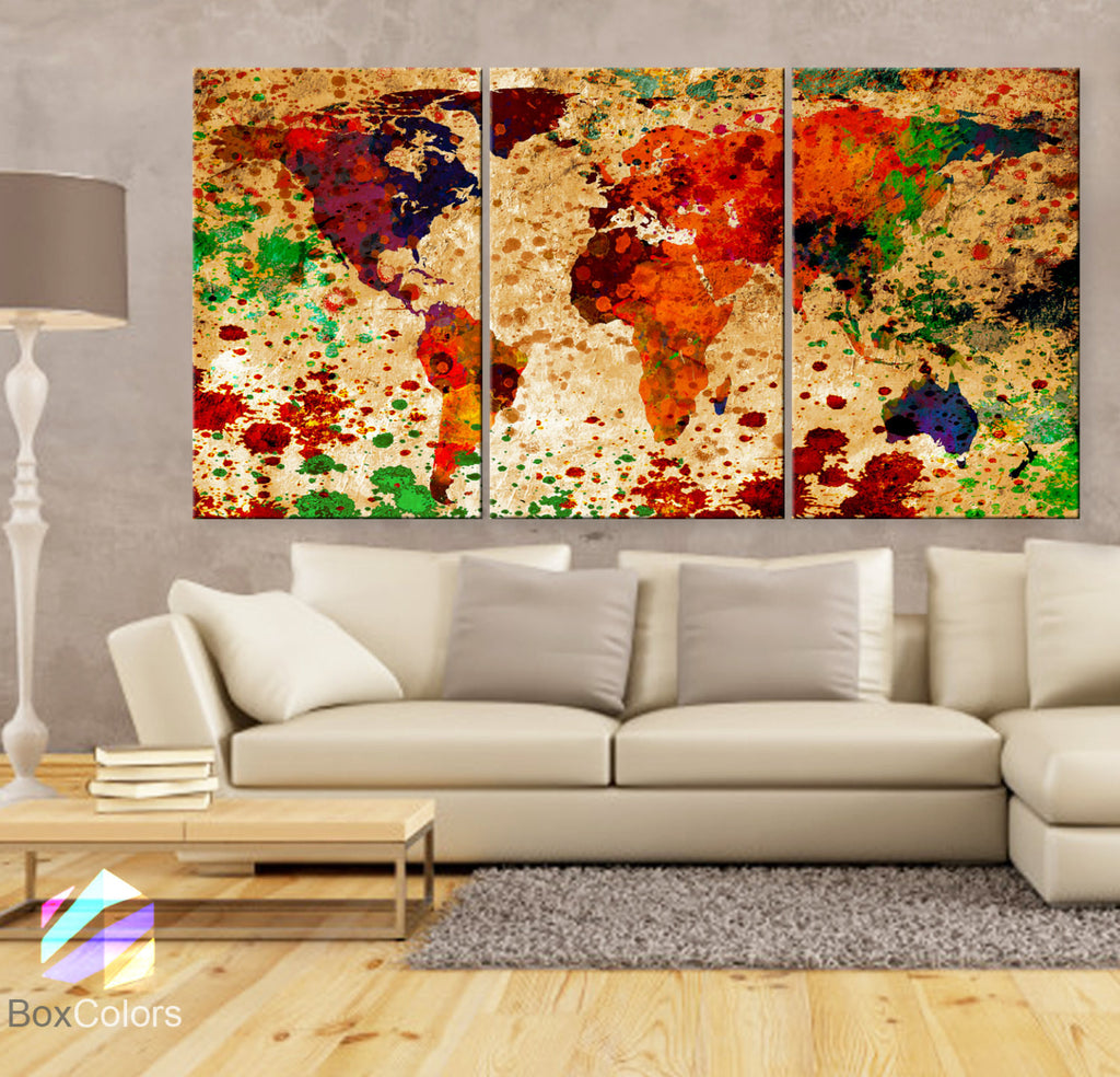 "LARGE 30""x 60"" 3 Panels Art Canvas Print World Map Original Texture Watercolor Abstract Wall interior design Home Office (framed 1.5"" depth) - BoxColors"