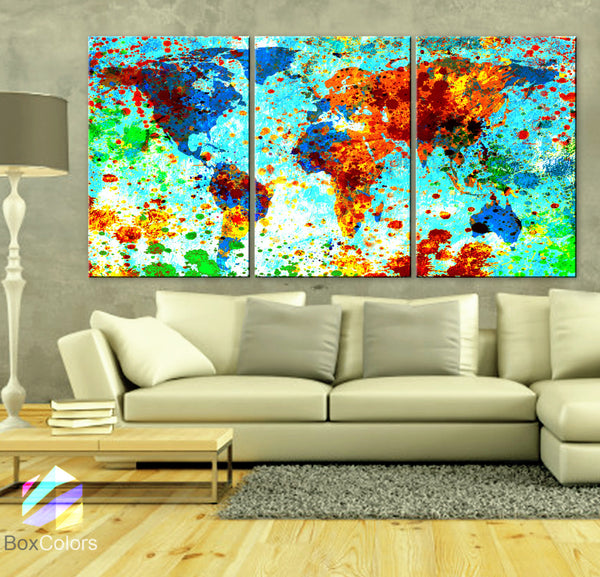 "LARGE 30""x 60"" 3 Panels Art Canvas Print World Map Texture Abstract Paint Blue Green Red Yellow Wall interior decor Home (framed 1.5"" depth) - BoxColors"
