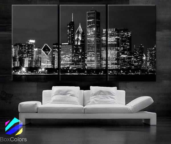 "LARGE 30""x 60"" 3 Panels Art Canvas Print Beautiful Chicago skyline at night light buildings Wall Home (Included framed 1.5"" depth) - BoxColors"