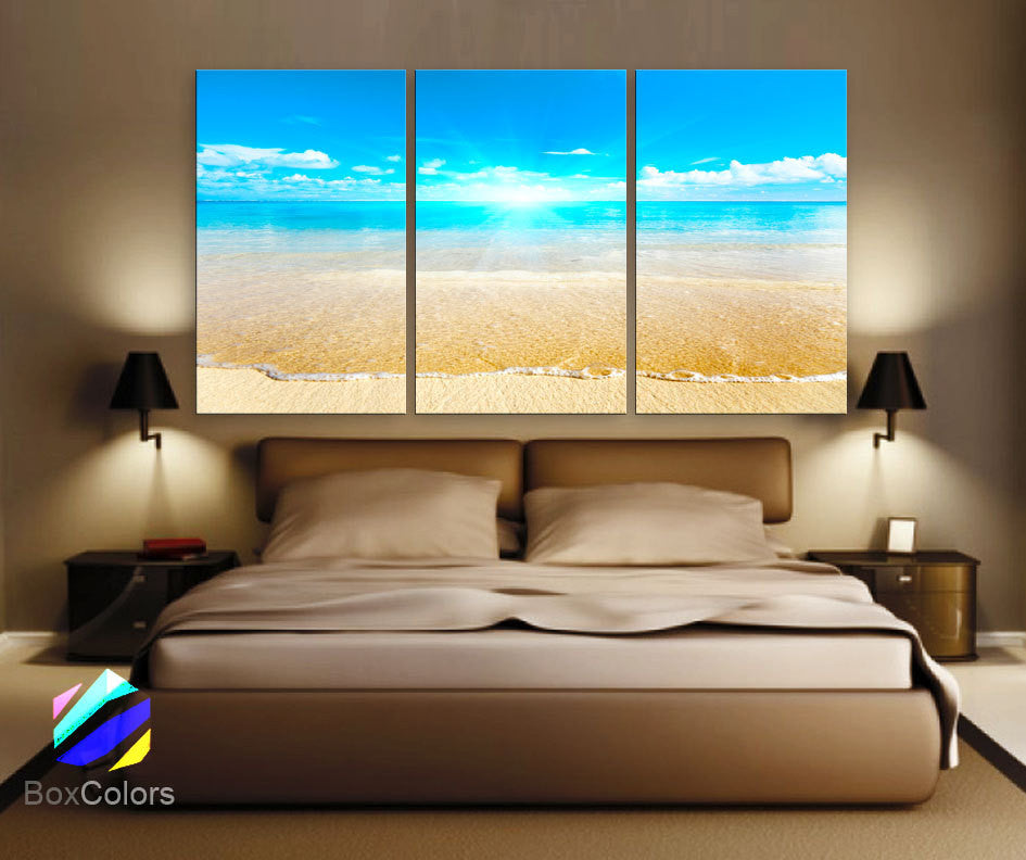 "LARGE 30""x 60"" 3 Panels Art Canvas Print Sunset Sea Beach Blue Turquesa Wall decorative home room interior  (Included framed 1.5"" depth) - BoxColors"