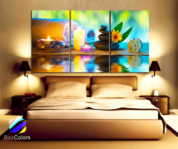 "LARGE 30""x 60"" 3 Panels Art Canvas Print Spa flowers Stones candle Water Relax Wall Home room decor interior (Included framed 1.5"" depth)"