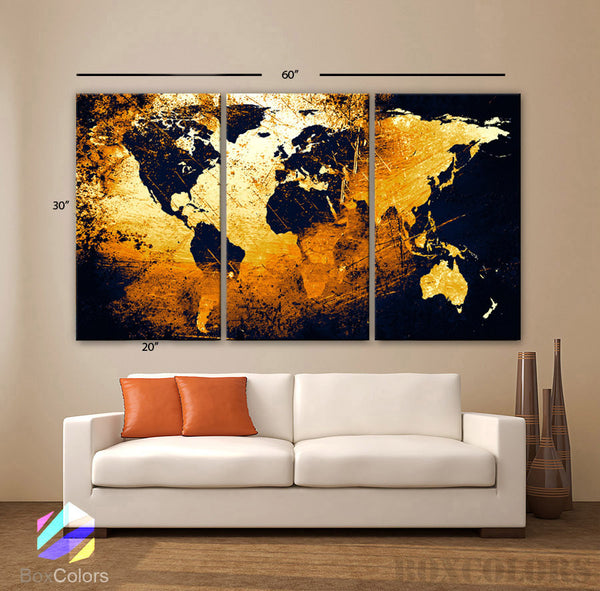 "LARGE 30""x 60"" 3 Panels Art Canvas Print World Map Abstract Orange Yellow Black Wall Decor interior design Home Office (framed 1.5"" depth) - BoxColors"