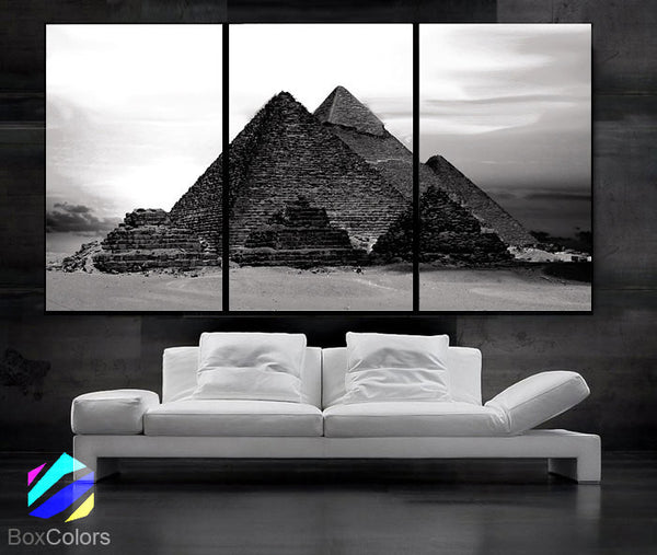"LARGE 30""x 60"" 3 Panels Art Canvas Print beautiful Egypt Pyramid Sunset Wall Home (Included framed 1.5"" depth) - BoxColors"