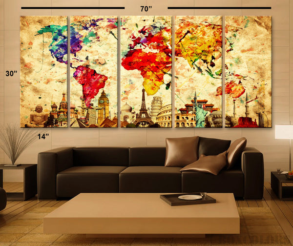 "XLARGE 30""x 70"" 5 Panels Art Canvas Print Original Wonders of the world Old Paper Map Colorful Wall decor Home interior (framed 1.5"" depth) - BoxColors"