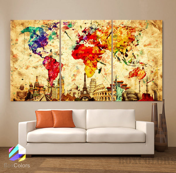 "LARGE 30""x 60"" 3 Panels Art Canvas Print Original Wonders of the world Old Paper Map Colorful Wall decor Home interior (framed 1.5"" depth)"