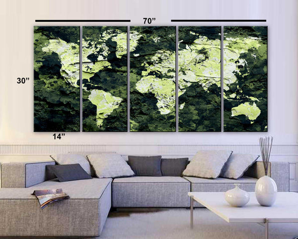 "XLARGE 30""x 70"" 5 Panels Art Canvas Print Original Map world concrete paint Dark Green Wall decor Home Office interior (framed 1.5"" depth) - BoxColors"
