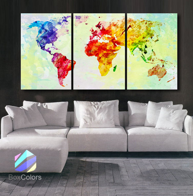"LARGE 30""x 60"" 3 Panels Art Canvas Print World Map Watercolor Abstract Colorful Wall interior decor Home Office (framed 1.5"" depth) - BoxColors"