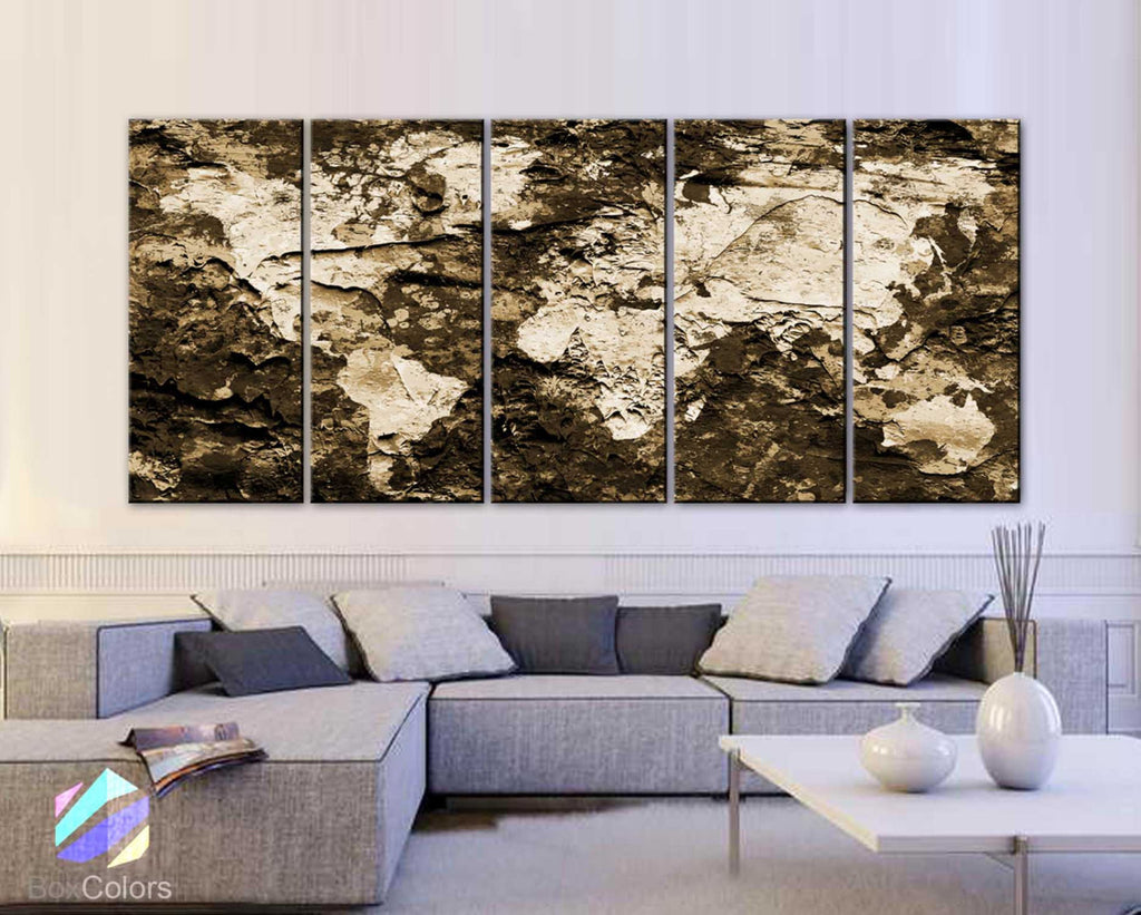 "XLARGE 30""x 70"" 5 Panels Art Canvas Print Original Map world concrete paint Sepia Wall decor Home Office interior (framed 1.5"" depth) - BoxColors"