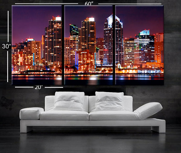 "LARGE 30""x 60"" 3 Panels Art Canvas Print Beautiful San Diego CA skyline light downtown Colorful Wall Home Office decor (framed 1.5"" depth) - BoxColors"