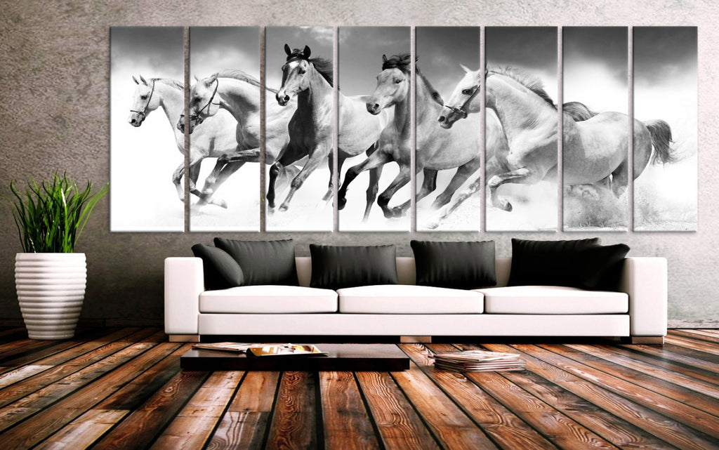 "XXLARGE 30""x 96"" 8 Panels Art Canvas Print beautiful Horses Black & White Wall Home Office Decor interior (Included framed 1.5"" depth) - BoxColors"