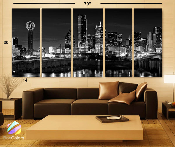 "XLARGE 30""x 70"" 5 Panels Art Canvas Print beautiful Dallas tx Skyline Black & White Wall Home (Included framed 1.5"" depth) - BoxColors"