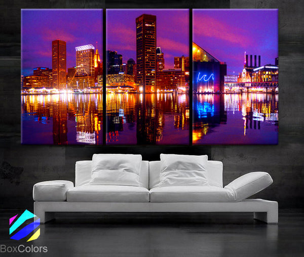 "LARGE 30""x 60"" 3 Panels Art Canvas Print Baltimore Skyline night light Downtown bridge Wall Home decor interior (framed 1.5"" depth) - BoxColors"