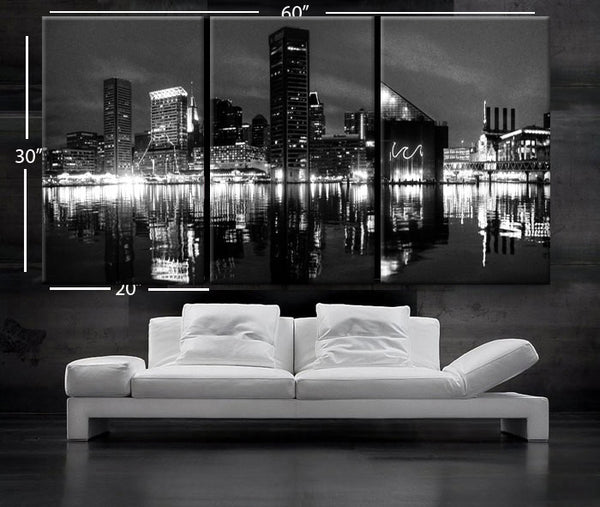 "LARGE 30""x 60"" 3 Panels Art Canvas Print Beautiful Baltimore skyline at night light buildings Wall Home (Included framed 1.5"" depth) - BoxColors"