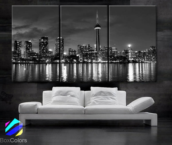 "LARGE 30""x 60"" 3 Panels Art Canvas Print beautiful Toronto Canada downtown city skyline Black & White Wall Home (Included framed 1.5"" depth) - BoxColors"