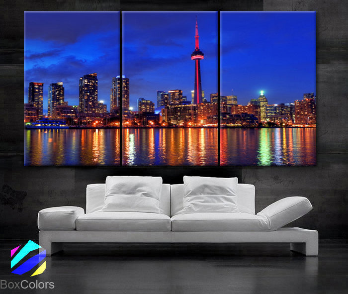 "LARGE 30""x 60"" 3 Panels Art Canvas Print Toronto Canada Skyline night light Downtown bridge Wall Home decor interior (framed 1.5"" depth) - BoxColors"