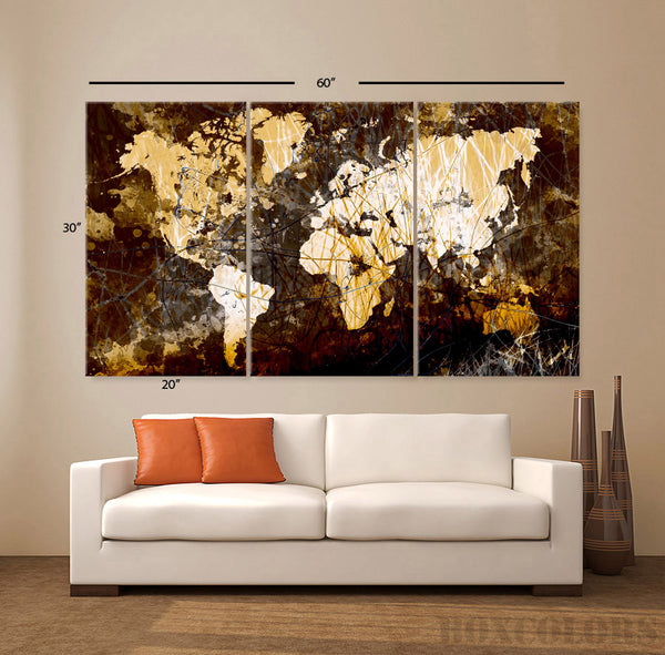 "LARGE 30""x 60"" 3 Panels Original Art Canvas Print World Map Texture Abstract Wall Decor office interior Home (Included framed 1.5"" depth) - BoxColors"