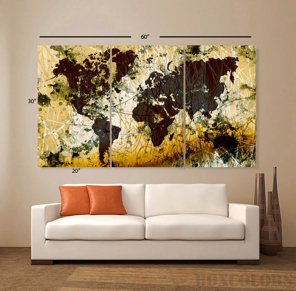 "LARGE 30""x 60"" 3 Panels Original Art Canvas Print World Map Texture Abstract Brown yellow Wall Decor office Home(Included framed 1.5"" depth) - BoxColors"