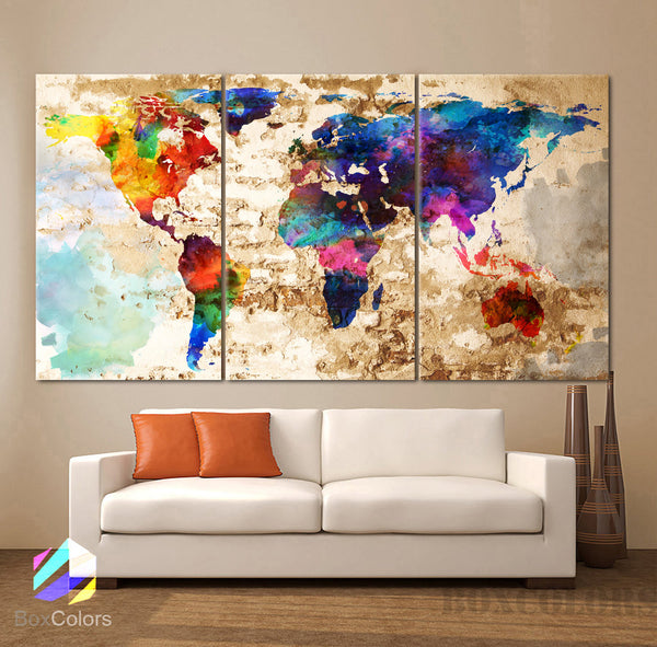 "LARGE 30""x 60"" 3 Panels Art Canvas Print Original  Watercolor Texture Map Old brick Wall Full color decor Home interior (framed 1.5"" depth) - BoxColors"