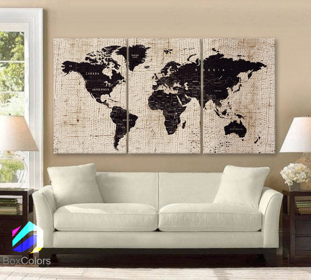 Large Canvas Map Of The World.Large 30 X60 3 Panels Art Canvas Texture Print Map World Cities