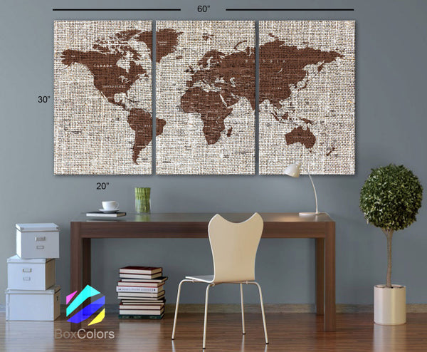 "LARGE 30""x60"" 3 Panels Art Canvas Texture Print Map Brown World  Cities Push Pin Travel Wall decor Home Office interior (framed 1.5"" depth) - BoxColors"