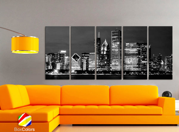 "XLARGE 30""x 70"" 5 Panels Art Canvas Print beautiful Chicago Skyline night Black & White Wall Home office decor interior ( framed 1.5"" depth) - BoxColors"